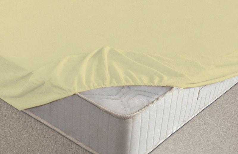 Простыня на резинке Ecotex, махровая, цвет: желтый, 180 х 200 см531-105Махровые простыни на резинке сшиты из высококачественного махрового полотна, окрашены стойкими экологически безопасными красителями. Они уже успели завоевать признание потребителей благодаря своим практичным характеристикам. Имеют резинку по всему периметру, что даёт возможность надежно зафиксировать простыню на матрасе, тем самым создавая здоровый и комфортный сон. Натяжные махровые простыни довольно практичны, т.к. махровое полотно долговечно. Выолнены из 100% хлопка и не содержат синтетических добавок.