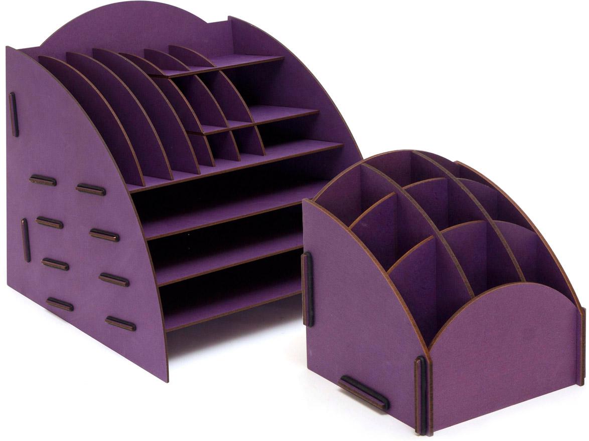Набор настольных органайзеров Homsu, для дома и офиса, цвет: фиолетовый, 2 шт74-0120Этот комплект просто незаменим на рабочем столе, он вместителен и в то же время, не занимает много места. Яркий дизайн дополнит интерьер дома и разбавит цвет в скучном сером офисе. Органайзеры отлично смотрится в любом интерьере, изготовлены из МДФ и легко собираются из съемных частей. Места на вашем рабочем столе станет больше с появлением этих органайзеров. 355х320х340; 138х138х140