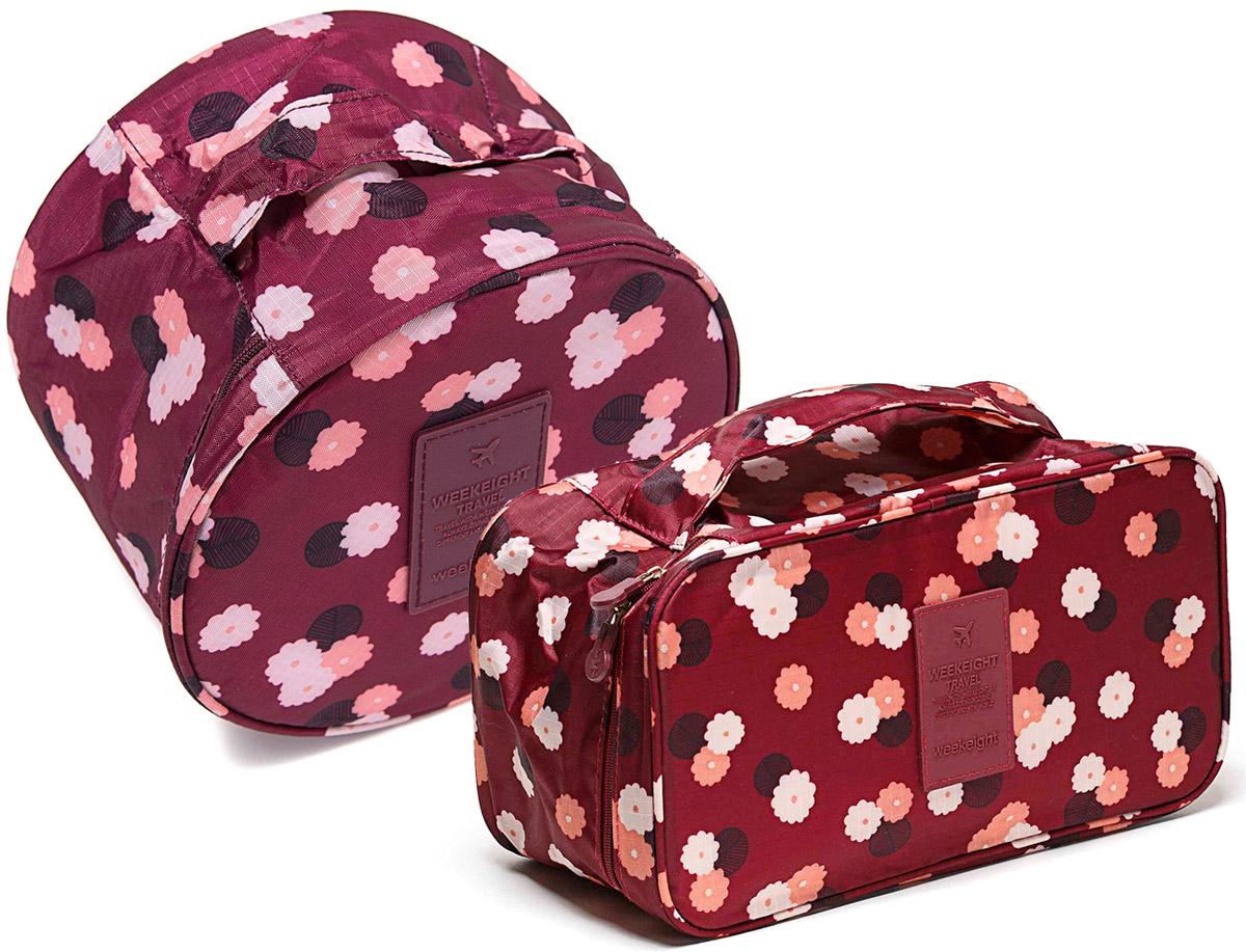 Органайзер для мелочей и косметики Homsu Бордовый цветок: косметичка, 19 х 19 х 14 см + органайзер, 28 х 13 х 15 смDEN-10Косметичка-органайзер Homsu Бордовый цветок выполнен из полиэстера и оформлен цветочным принтом. Закрывается изделие на застежку-молнию. Внутри имеется 4 отделения для мелочей, а также дополнительная сумочка, которая крепится к косметичке посредством липучки и надежно защищает ваши вещи за счет удобной молнии. Теперь вы сможете всегда брать с собой все, что вам может понадобиться. Сверху органайзера имеется ручка для удобной переноски. Косметичка-органайзер Homsu станет незаменимым аксессуаром для любой девушки.