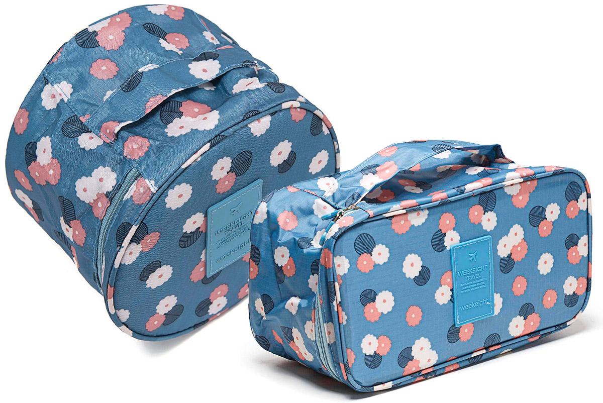 Органайзер для мелочей и косметики Homsu Синий цветок: косметичка, 19 х 19 х 14 см + органайзер, 28 х 13 х 15 см1004900000360Косметичка-органайзер Homsu  Синий дизайн выполнен из полиэстера и оформлен цветочным принтом. Закрывается изделие на застежку-молнию. Внутри имеется 4 отделения для мелочей, а также дополнительная сумочка, которая крепится к косметичке посредством липучки и надежно защищает ваши вещи за счет удобной молнии. Теперь вы сможете всегда брать с собой все, что вам может понадобиться. Сверху органайзера имеется ручка для удобной переноски. Косметичка-органайзер Homsu станет незаменимым аксессуаром для любой девушки.