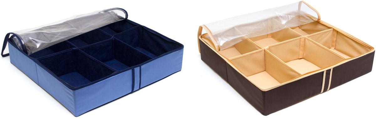 Набор органайзеров для хранения обуви Homsu, на 12 пар, 54 х 51 х 12 см, 2 шт1014008.Набор органайзеров Homsu, выполненный из высококачественного материала,предназначен для удобного и компактного хранения обуви. Шесть отделений у каждого органайзера вмещают 6 пар обуви. Органайзеры плоские, их удобно хранить под кроватью или диваном. Внутренние секции можно моделировать под размеры обуви, например высокие сапоги. Они имеют жесткие борта и крышку с застежкой - молнией, что является гарантией сохранности вещей.