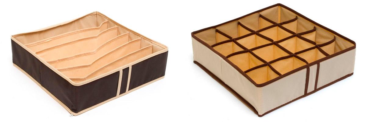 Набор органайзеров Homsu Домашний уют, 22 ячейки, 2 штCLP446Набор органайзеров предназначен для удобного и компактного хранения белья и мелких вещей. А темно-коричневый цвет отлично дополняет интерьер, придавая ему оригинальный стиль.В набор входят 2 органайзера:Органайзер на 6 ячеек - он сохранит форму вашего белья, он компактен, не занимает много места, и в то же время может вместить несколько бюстгальтеров.Органайзер на 16 ячеек для белья и мелких предметов - в него можно сложить носки, трусики и прочие небольшие предметы гардероба, множество ячеек не позволит белью смяться и перепутаться. Выбирая набор органайзеров, вы приобретаете практичное хранение вещей, стильные аксессуары для интерьера и свободное пространство. 350х350х100; 350х350х100