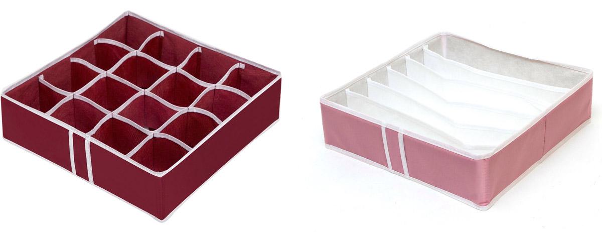 Набор органайзеров Homsu Влюбленность, 35 х 35 х 10 см, 2 штDEN-18Набор органайзеров Homsu Влюблённость, выполненный из полиэстера и картона, предназначен для удобного и компактного хранения белья и мелких вещей. В набор входят 2 органайзера:Органайзер на 6 ячеек - он сохранит форму вашего белья, он компактен, не занимает много места, и в то же время может вместить несколько бюстгальтеров.Органайзер на 16 ячеек для белья и мелких предметов - в него можно сложить носки, трусики и прочие небольшие предметы гардероба, множество ячеек не позволит белью смяться и перепутаться. Выбирая набор органайзеров, вы приобретаете практичное хранение вещей, стильные аксессуары для интерьера и свободное пространство.