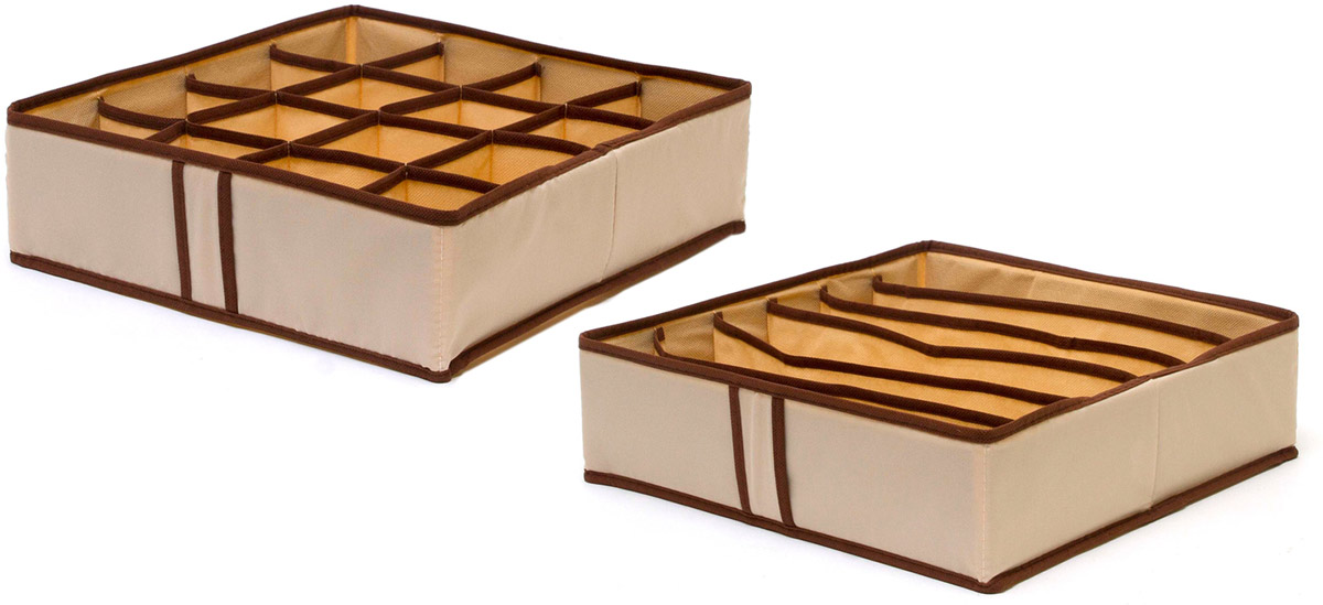 Набор органайзеров Homsu, для нижнего белья, цвет: бежевый, 2 штCLP446Набор органайзеров предназначен для удобного и компактного хранения белья и мелких вещей. Спокойный бежевый цвет отлично дополняет интерьер, придавая ему оригинальный стиль. В набор входят 2 органайзера:Органайзер бежевый на 6 ячеек - он сохранит форму вашего белья, он компактен, не занимает много места, и в то же время может вместить несколько бюстгальтеров.Органайзер бежевыйй на 16 ячеек для белья и мелких предметов - в него можно сложить носки, трусики и прочие небольшие предметы гардероба, множество ячеек не позволит белью смяться и перепутаться. Выбирая набор органайзеров, вы приобретаете практичное хранение вещей, стильные аксессуары для интерьера и свободное пространство. 350х350х100; 350х350х100