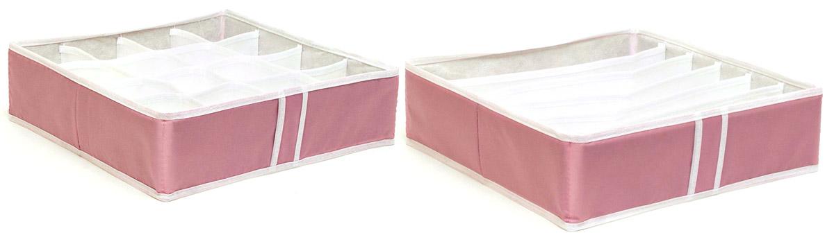 Набор органайзеров Homsu, для нижнего белья, цвет: розовый, 2 шт1004900000360Набор органайзеров Homsu, выполненный из полиэстера и картона, предназначен для удобного и компактного хранения белья и мелких вещей. В набор входят 2 органайзера:органайзер на 6 ячеек - он сохранит форму вашего белья, компактен, не занимает много места, и в то же время может вместить несколько бюстгальтеров и органайзер на 16 ячеек для белья и мелких предметов - в него можно сложить носки, трусики и прочие небольшие предметы гардероба, множество ячеек не позволит белью смяться и перепутаться. Выбирая набор органайзеров, вы приобретаете практичное хранение вещей, стильные аксессуары для интерьера и свободное пространство.