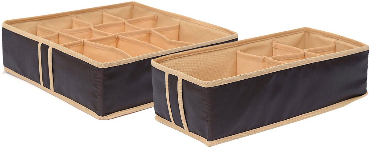 Набор органайзеров Homsu Классика, 2 штБрелок для ключейНабор органайзеров Homsu Классика, выполненный из полиэстера и картона, предназначен для удобного и компактного хранения белья и мелких вещей. В набор входят 2 органайзера. Органайзер на 12 ячеек -сохранит форму вашего белья, он компактен, не занимает много места, и в то же время может вместить несколько вещей.Органайзер на 8 ячеек - в него можно сложить носки, трусики, колготки и прочие небольшие предметы гардероба, множество ячеек не позволит белью смяться и перепутаться. Выбирая набор органайзеров, вы приобретаете практичное хранение вещей, стильные аксессуары для интерьера и свободное пространство.