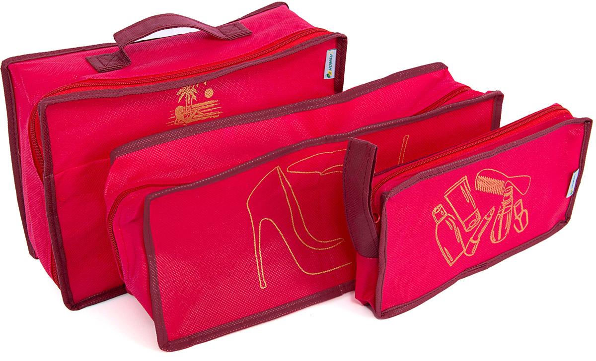 Набор органайзеров Homsu, для путешествия, цвет: красный, 3 предмета1004900000360Вместе с оригинальным современным дизайном такой дорожный комплект органайзеров принесёт также очень существенную практическую пользу в любом путешествии. Благодаря трем сумочкам разных размеров: 25x12x5 см; 28x20x9 см и 35x15x11 см вы сможете распределить все вещи, которые возьмёте с собой таким образом, чтобы всегда иметь быстрый доступ к ним, и при этом надёжно защитить от пыли, грязи, влажности или механических повреждений. Все предметы данного комплекта изготовлены из прочных и качественных материалов. 250x120x50; 280x200x90; 350x150x110
