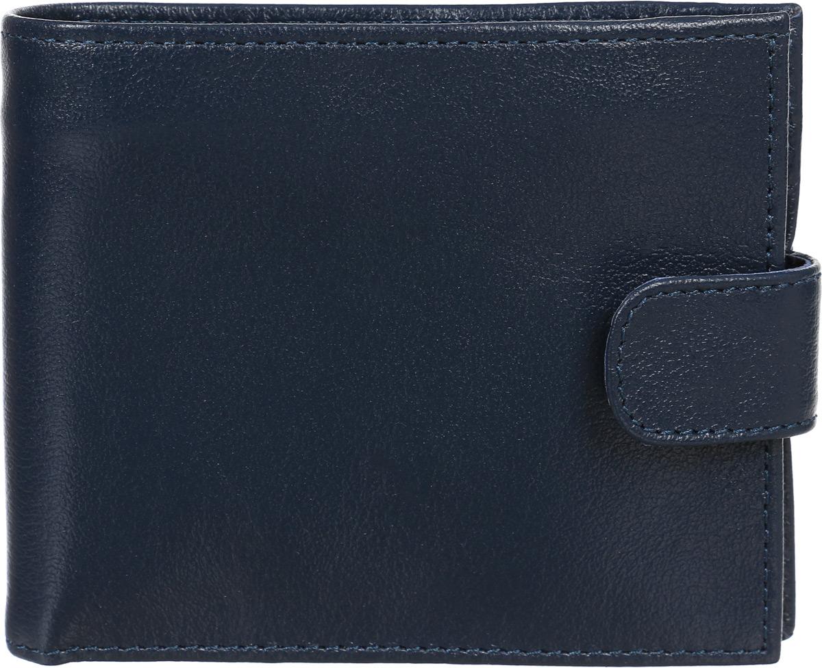 Портмоне муж Befler Грейд, цвет: синий. PM.39.-9INT-06501Компактное классическое портмоне из коллекции «Грейд» выполнено из натуральной кожи. Закрывается хлястиком на кнопку. Внутренний функционал: 2 основных отделения для купюр, дополнительное отделение для купюр на молнии, 4 кармана для кредитных карт, карман для мелочи, закрывающийся на молнию.