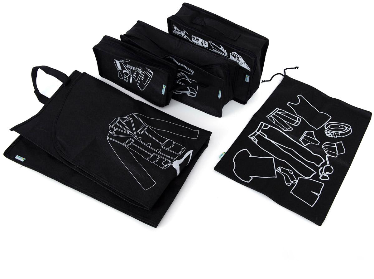 Набор органайзеров Homsu, для путешествия, цвет: черный, 5 предметов1004900000360Вместе с оригинальным современным дизайном такой комплект органайзеров принесёт также очень существенную практическую пользу в любом путешествии. Благодаря трем сумочкам разных размеров: 25x12x5 см; 28x20x9 см и 35x15x11 см, а также чехлу размером 90x60x1 и органайзеру для вещей размером 45x30x1 вы сможете распределить все вещи, которые возьмёте с собой таким образом, чтобы всегда иметь быстрый доступ к ним, и при этом надёжно защитить от пыли, грязи, влажности или механических повреждений. Все предметы данного комплекта изготовлены из прочных и качественных материалов. 250x120x50; 280x200x90; 350x150x110; 900x600x10; 450x300x10