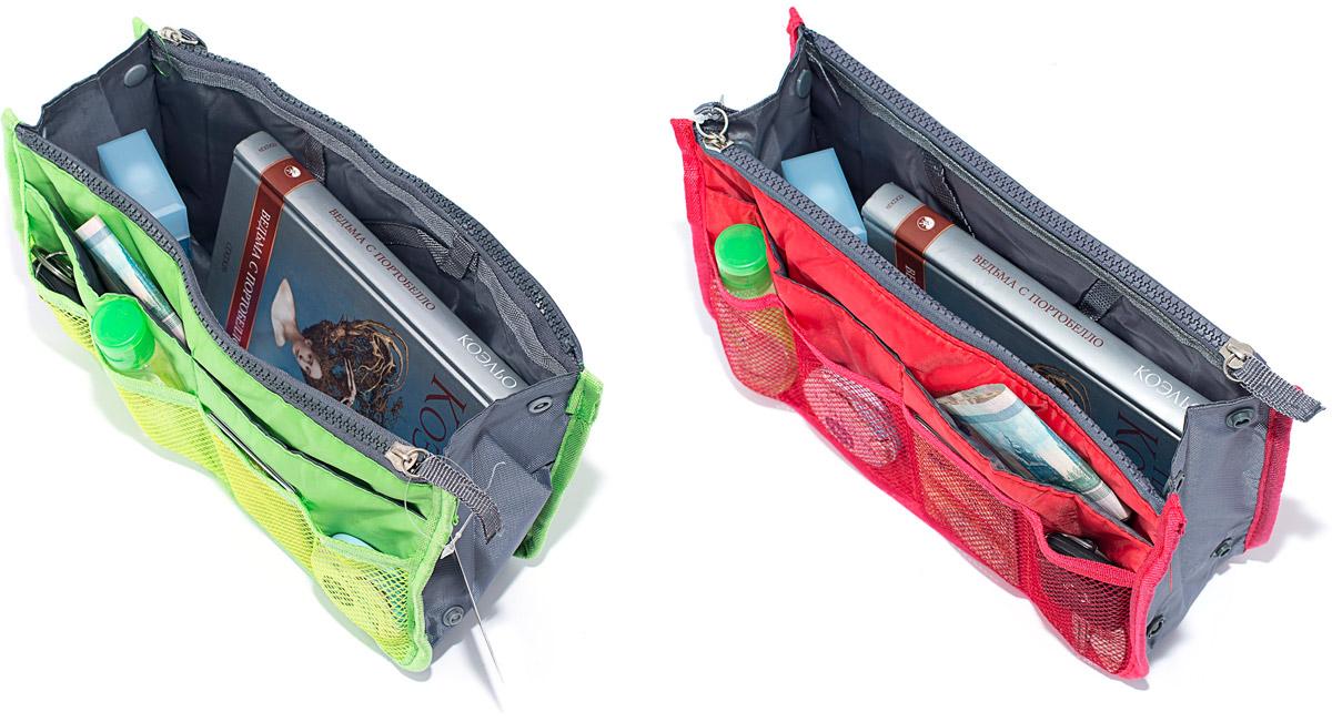 Набор косметичек Homsu, цвет: красный, зеленый, 28 х 10 х 17 см, 2 штDEN-38Модный и стильный современный дизайн, а также высокая практичная польза – в этих органайзерах очень органично объединены несколько плюсов. Изделия обладают крепкой ручкой, поэтому их легко можно использовать и отдельно от сумки. Если же вставить органайзеры в сумку, вы получите превосходную возможность раз и навсегда навести в ней идеальный порядок, который будет легко поддерживать, распределив все вещи по отдельным кармашкам. Набор выполнен из ткани и полиэстера.