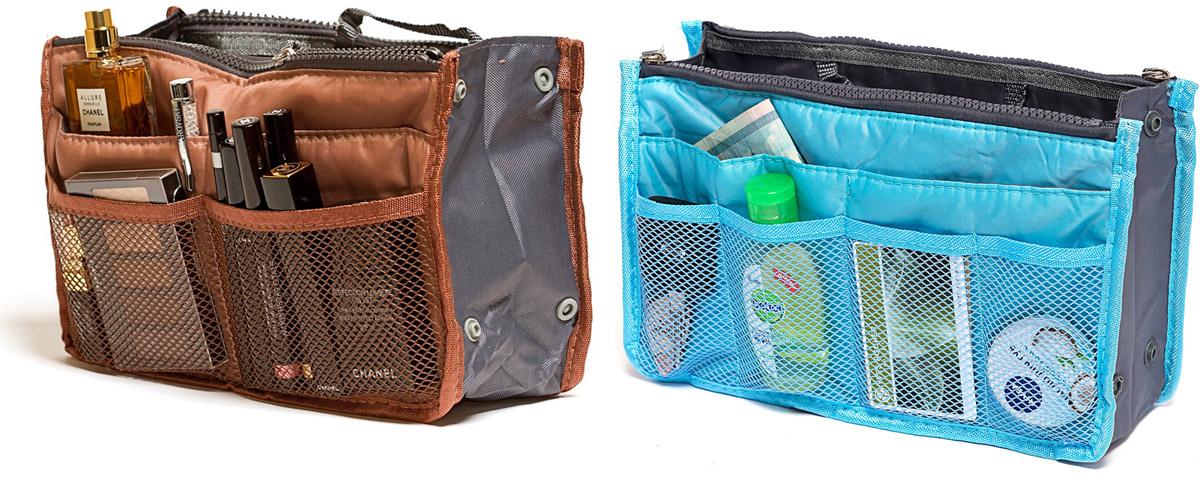 Набор косметичек Homsu, цвет: голубой, коричневый, 28 х 10 х 17 см, 2 шт12723Модный и стильный современный дизайн, а также высокая практичная польза – в этих органайзерах очень органично объединены несколько плюсов. Изделия обладают крепкой ручкой, поэтому их легко можно использовать и отдельно от сумки. Если же вставить органайзеры в сумку, вы получите превосходную возможность раз и навсегда навести в ней идеальный порядок, который будет легко поддерживать, распределив все вещи по отдельным кармашкам. 280x100x170; 280x100x170