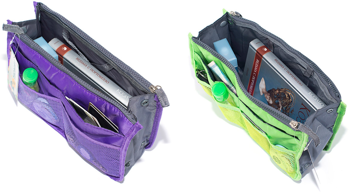 Набор косметичек Homsu, цвет: зеленый, фиолетовый, 28 х 10 х 17 см, 2 шт1004900000360Модный и стильный современный дизайн, а также высокая практичная польза – в этих органайзерах очень органично объединены несколько плюсов. Изделия обладают крепкой ручкой, поэтому их легко можно использовать и отдельно от сумки. Если же вставить органайзеры в сумку, вы получите превосходную возможность раз и навсегда навести в ней идеальный порядок, который будет легко поддерживать, распределив все вещи по отдельным кармашкам. Набор выполнен из ткани и полиэстера.