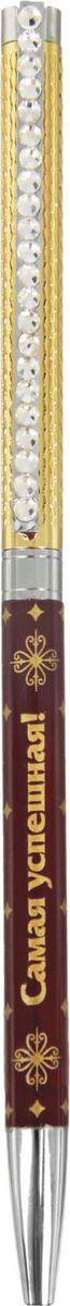 Ручка шариковая Самая успешная цвет корпуса бордовый золотистый синяя1546195Ручка Самая успешная в чехле из искусственной кожи - практичный и очень красивый подарок. Он станет незаменимым помощником в делах, а оригинальный дизайн будет радовать своего обладателя и поднимать настроение каждый день. Преимущества: чехол из искусственной кожи с тиснением фольгой изящный клип со стразами индивидуальный дизайн. Такой аксессуар станет отличным подарком для друга, коллеги или близкого человека.