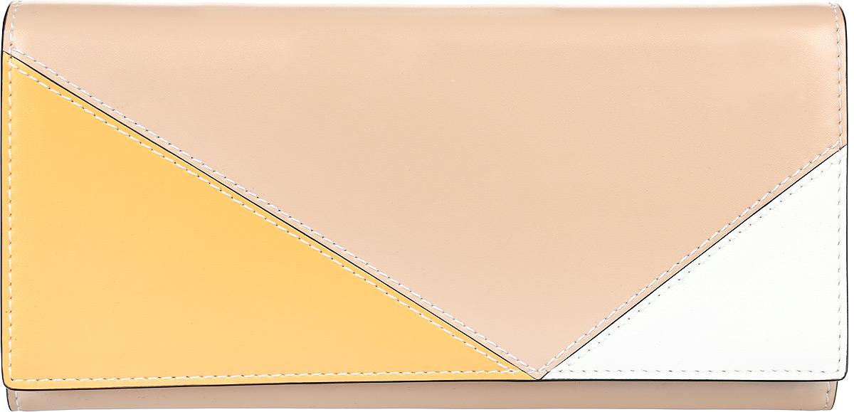 Кошелек женский Leo Ventoni, цвет: бежевый, желтый, белый. L3309811-022_516Элегантный женский кошелек от итальянского бренда Leo Ventoni выполнен из натуральной кожи с невероятно мягкой и приятной на ощупь фактурой. Изысканное сочетание бежевого, желтого и белого цветов превращают кошелек в изящный аксессуар, который придется по вкусу любительницам аристократичных аксессуаров. Прямые геометрические линии прекрасно дополнят любой современный образ. Внутри модели находится два отделения для купюр, одно из которых закрывается на молнию. Вы сможете разместить свои дисконтные карты с помощью удобных отделов. На тыльной стороне имеется карман на молнии с металлическим поводком. Кошелек закрывается на прочную заклепку.