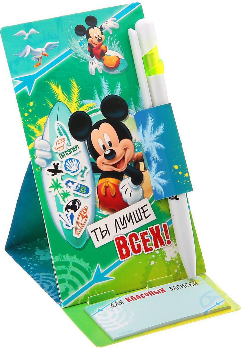 Disney Ручка пластиковая Ты лучше всех Микки Маус на открытке с блоком для записей синяяC13S400035Дети любят все яркое и цветное. Письменные принадлежности не исключение. станет любимой у ребенка. Пишущий инструмент не потеряется благодаря картонной подставке. А все неожиданные и гениальные мысли не забудутся с блоком для записей с отрывными листами 8х4 см. Ручка будет долго радовать хозяина. Такой подарок не только яркий и красивый, но и практичный, функциональный. Он будет служить ребенку не один день!