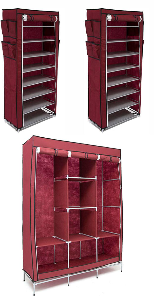 Набор кофров для хранения Идеальное хранение, цвет: бордовый, 3 штV4140/1SУникальный дизайн этого комплекта станет настоящим украшением для любого интерьера. Практичная составляющая подобной мебели также вне сомнений. Лёгкие и прочные устойчивые конструкции из каркасов и тканевой обивки могут быть легко собраны вами без посторонней помощи, буквально за несколько минут.Такая мебель будет всегда удобной и максимально практичной, ведь верхнюю тканевую часть при надобности можно всегда постирать либо же попросту поменять на аналогичную другого цвета. Кроме того, такие конструкции всегда будут отличным решением для того, кому по душе мобильность и постоянная смена обстановки. 1300х450х1720; 600х300х1360; 600х300х1360