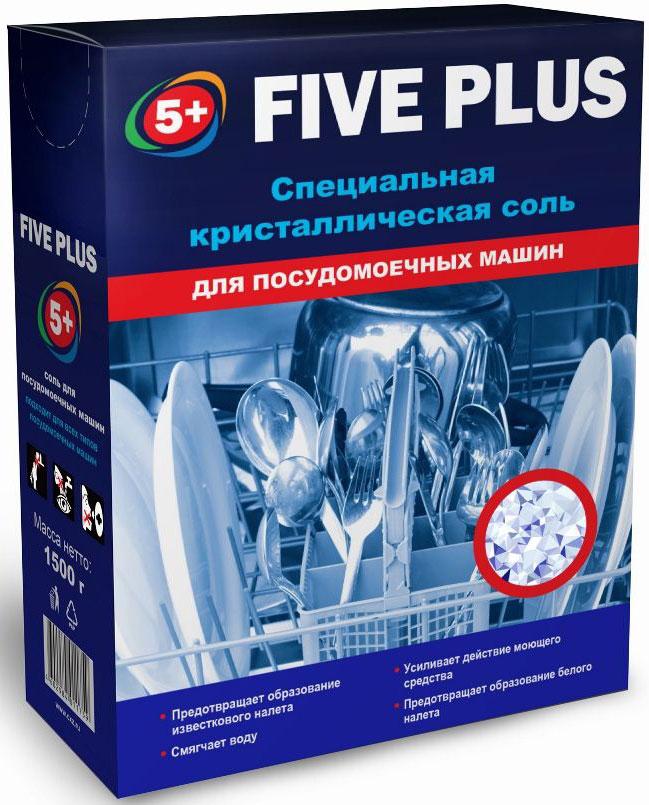 Соль для посудомоечных машин 5+ Five Plus, 1,5 кг230-15+ FIVE PLUS соль для посудомоечных машин.Крупнокристаллическая соль для посудомоечных машин обладает комплексным действием: предотвращает образование известкового налёта, смягчает воду и усиливает действие моющего средства. Регулярное использование защитной соли продлевает срое эксплуатации посудомоечной машины.
