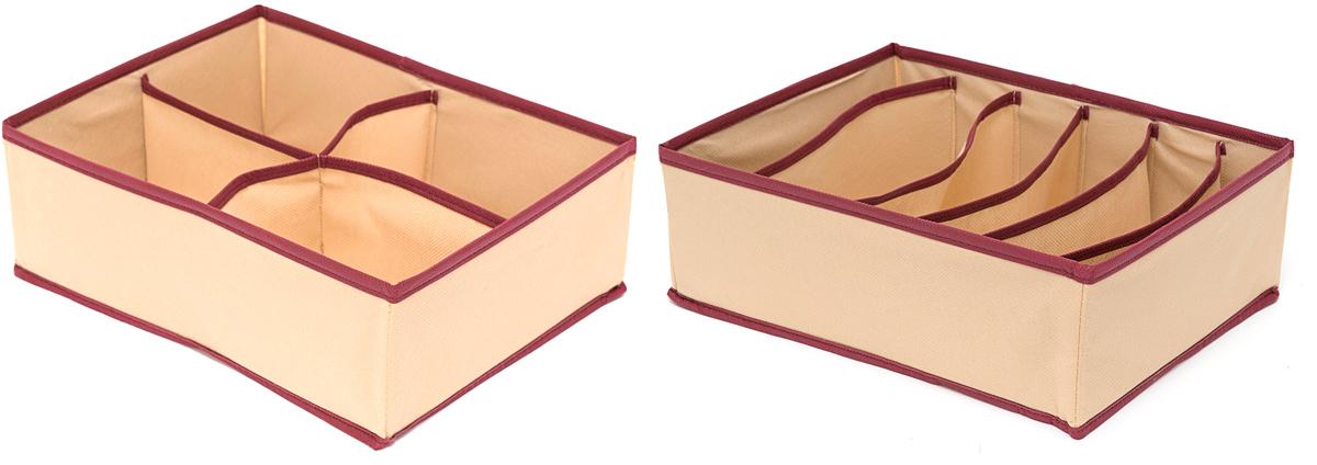 Набор органайзеров Homsu Стандарт, 10 ячеек, 2 шт1004900000360Набор органайзеров Homsu  Стандарт, выполненный из картона и спанбонда, состоит из двух коробок с раздельными ячейками различной величины. Они отлично подойдут для хранения самых разнообразных вещей. Имеют жесткие борта, что является гарантией сохранности вещей.
