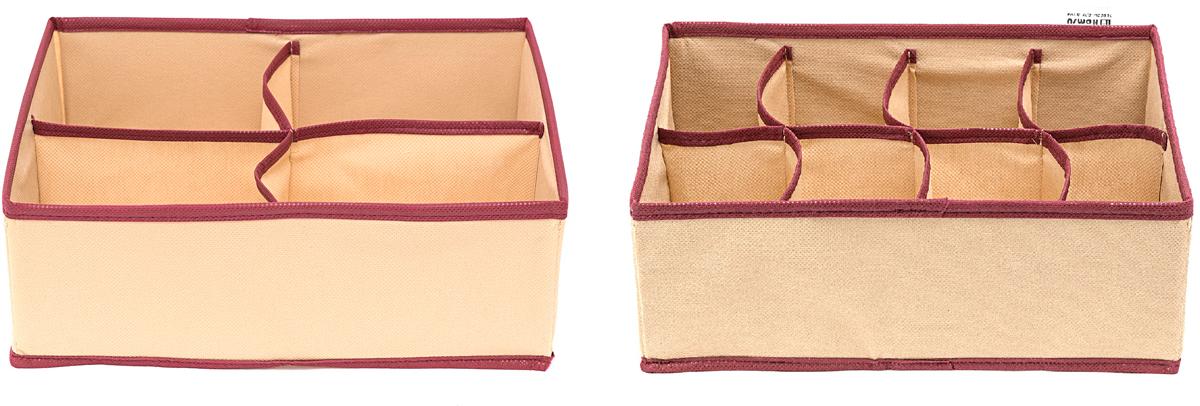 Набор органайзеров Homsu Стандарт, 12 ячеек, 2 штRG-D31SНабор органайзеров Homsu  Стандарт, выполненный из картона и спанбонда, состоит из двух коробок с раздельными ячейками различной величины. Они отлично подойдут для хранения самых разнообразных вещей. Имеют жесткие борта, что является гарантией сохранности вещей.
