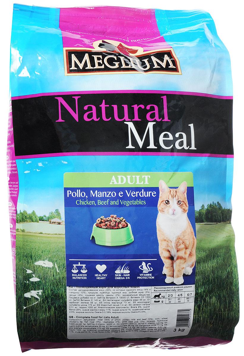 Корм сухой Meglium для кошек, с говядиной и курицей, 3 кг64784Полноценный, сбалансированный и очень вкусный корм Meglium предназначен для взрослых кошек. Куриное мясо - это первый источник высокоусвояемых белков со сбалансированным набором аминокислот, рыба является источником полноценных белков и содержит большое количество Омега-3 жирных кислот - все это дополняет сбалансированная доза минералов, витаминов и таурина, благодаря чему корм удовлетворяет все пищевые потребности вашей кошки.Товар сертифицирован.