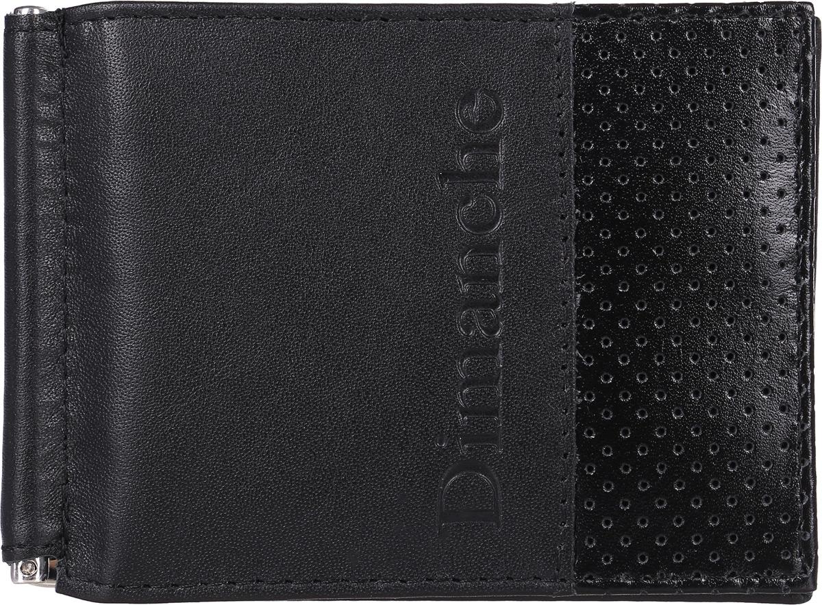Зажим для денег Dimanche Net, цвет: черный. 512/1BM8434-58AEЗажим для денег Dimanche Net выполнен из натуральной кожи черного цвета и оформлен тиснением в виде логотипа Dimanche. Внутри находятся фиксирующаяся в открытом положении металлическая скоба для купюр и восемь кармашков для кредитных карт или визиток, из которых два - потайные.Такой зажим станет отличным подарком для человека, ценящего качественные и стильные вещи.Зажим упакован в фирменную подарочную коробку.