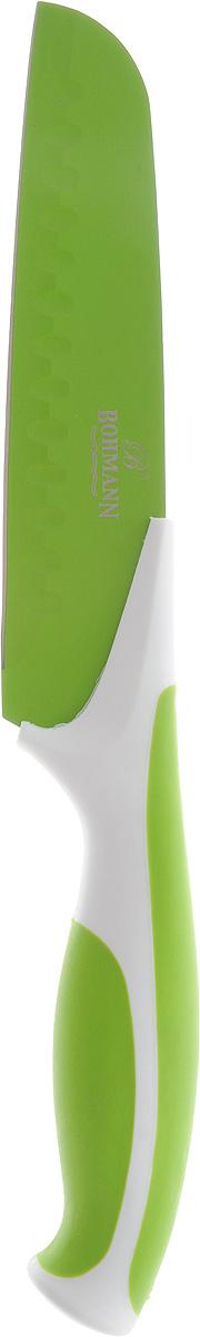 Нож сантоку Bohmann, цвет: салатовый, белый, длина лезвия 15 см94672Нож сантоку Bohmann имеет лезвие из высококачественной нержавеющей стали. Специальное покрытие Non-stick предотвращает прилипание продуктов и делает нарезку более эффективной и быстрой. Лезвие устойчиво к царапинам, не ржавеет и не оставляет запаха металла на еде. Цветное покрытие не выгорает и не шелушится в повседневном использовании. Рукоятка ножа выполнена из пластика и снабжена прорезиненными вставками для надежного хвата и комфортной резки. Длина ножа: 27,5 см.