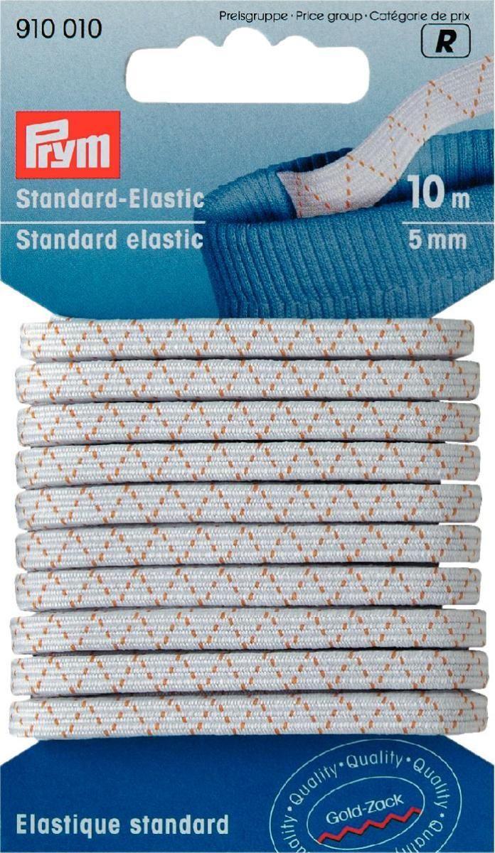 Лента эластичная Prym, цвет: белый, 5 мм, 10 мRSP-202SСтандартная эластичная лента мягкая на ощупь. Прочная. Универсальна в применении
