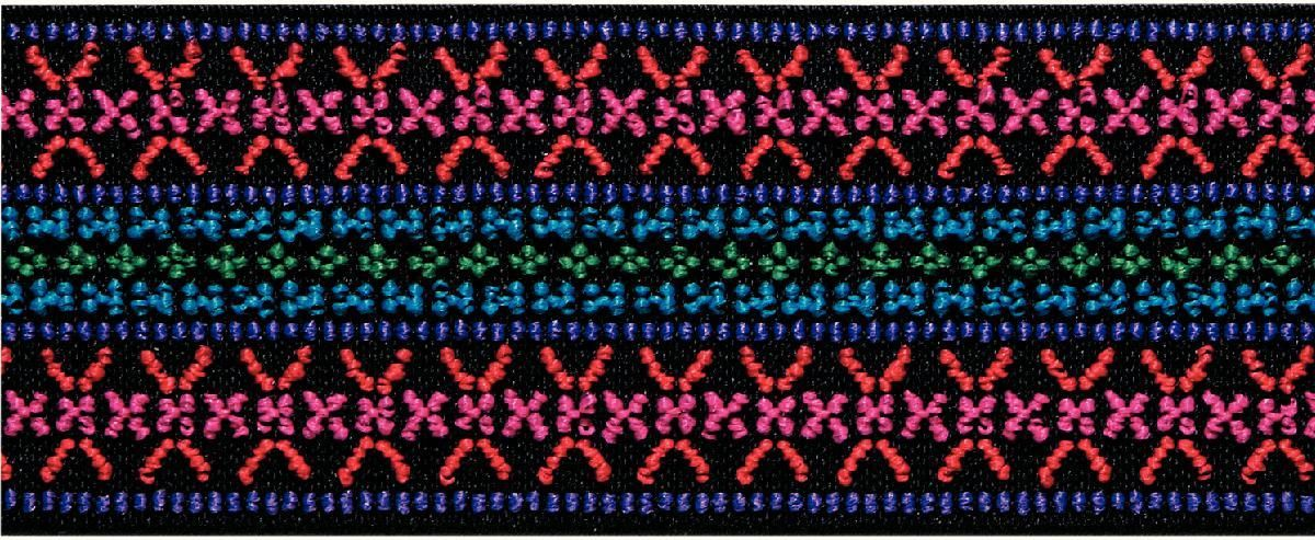 Лента эластичная Prym Color. Узор, цвет: розовый, 50 мм, 7 мC0038550Для украшения трикотажных тканей, поясов для брюк и юбок, аксессуаров и т.д.