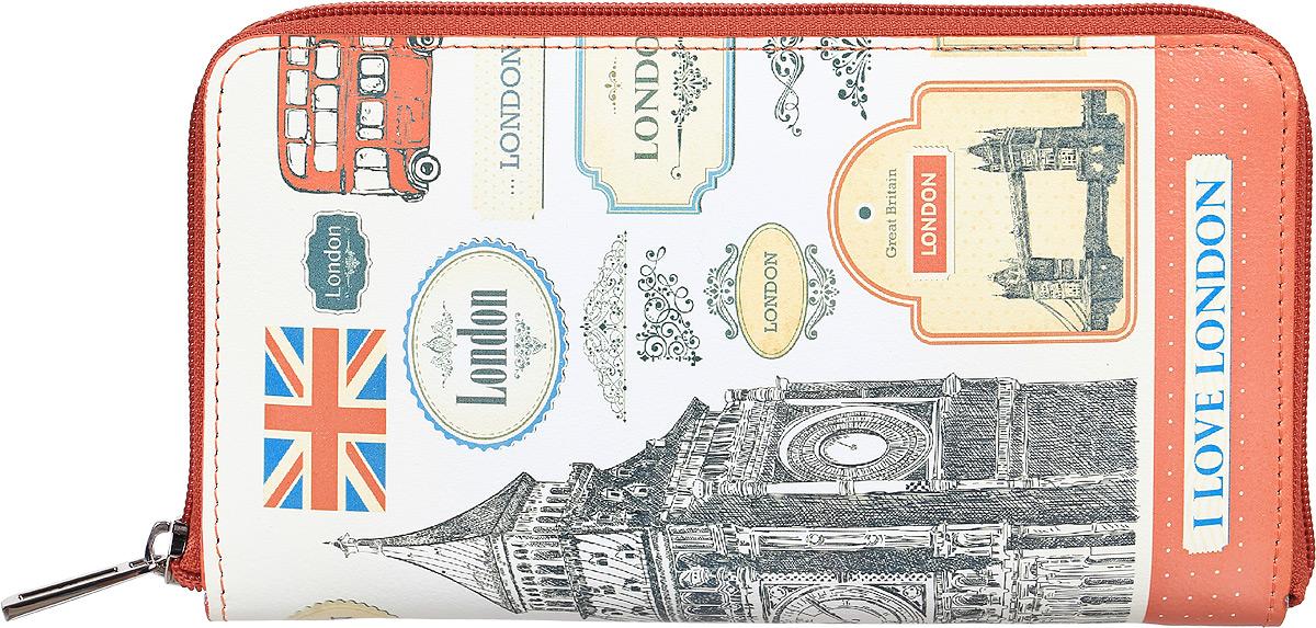Портмоне женское Befler London, цвет: белый, серый, красный. PJ.165.-71-022_516Портмоне Befler из коллекции «London» выполнено из натуральной кожи и оформлено оригинальным принтом. Закрывается на молнию. Внутри расположено 2 отделения для купюр, отделение для мелочи на молнии, 2 накладных кармана с отделениями для кредитных карт.