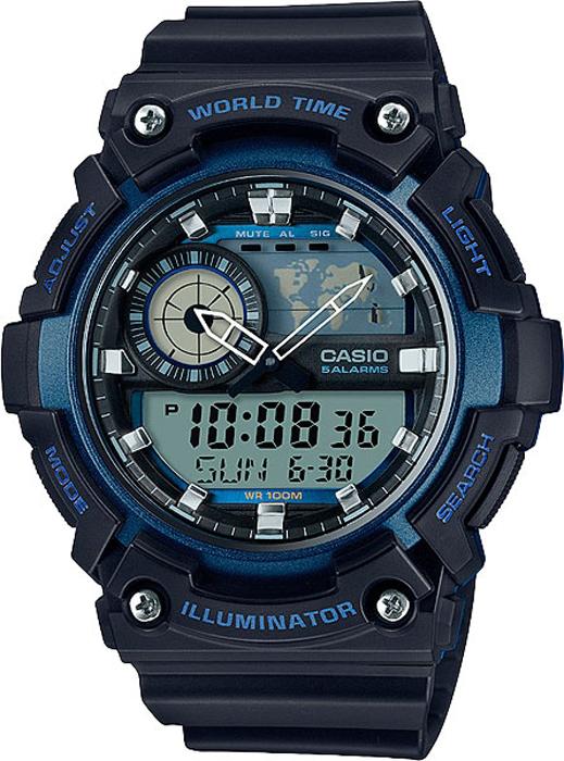 Часы наручные мужские Casio Collection, цвет: черный, синий. AEQ-200W-2ABM8434-58AEЧасы наручные мужские Casio Collection оборудованы светодиодной подсветкой дисплея.Функция мирового времени: отображение текущего времени в основных городах и конкретных областях по всему миру. Функция секундомера: прошедшее время измеряется с точностью в 1/100 секунды. Пределы измерения достигают 1 часа.Для поклонников точности: таймеры обратного отсчета напомнят вам о текущих или особенных событиях, издав звуковой сигнал в установленное время. Время можно предварительно настроить от 1 минуты и до 24 часов. Часы могут затем автоматически начать отсчет обратного времени в установленное время. Идеальное решение для людей, которым необходимо ежедневно принимать лекарства или выполнять промежуточные упражнения (тренировки). Будильник напомнит вам о повторяющихся событиях с помощью звукового сигнала, установленного вами на определенное время. Вы также можете активировать почасовой сигнал времени, сообщающий о каждом целом часе. Эта модель имеет пять независимых будильников для оповещения о важных встречах.Каждый раз, когда вы выключаете звуковой сигнал, он прозвучит повторно спустя несколько минут. Можно отключить звук при нажатии кнопок. Это означает, что часы больше не будут издавать звуковой сигнал при переключении от одной функции на другую. Заранее установленные звуковые сигналы или таймеры обратного отчета остаются активными, если звук кнопок отключен. После настройки автоматический календарь всегда отображает точную дату. Отображение времени можно в 12-часовом или 24-часовом формате. Прочное, устойчивое к царапинам минеральное стекло защищает часы от повреждений. Корпус изготовлен из полимерного пластика, ремешок - из полимерного материала. Натуральный полимерный материал является идеальным для изготовления ремешка благодаря своей чрезвычайной прочности и гибкости. Водонепроницаемость: 10 Бар.