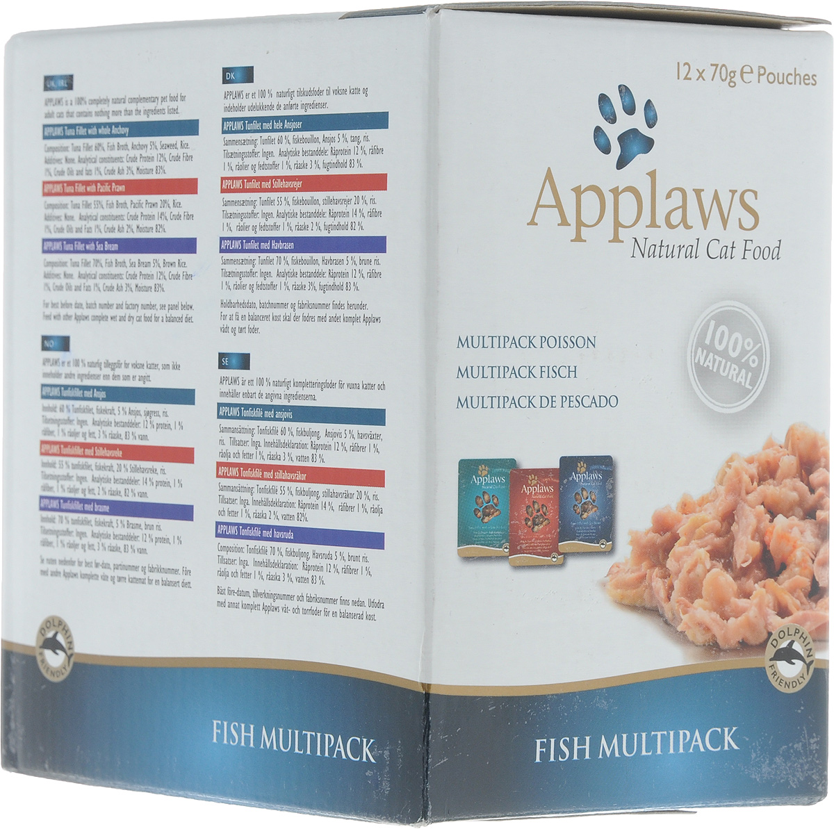 Консервы для кошек Applaws Рыбное ассорти, 12 шт х 70 г20759Консервы для кошек Applaws Рыбное ассорти изготовлены из свежего высококачественного филе тунца. Большое количество рыбной составляющей - 75% не оставят равнодушным ни одну кошку. Консервы для кошек и котят Applaws Рыбное ассорти приготовлены в собственном бульоне 24%. В состав каждого рецепта входит только три - четыре основных ингредиента и ничего более. Одним из основных преимуществ данного продукта, что он не содержит ГМО, искусственных консервантов или красителей, вкусовых добавок. Ваша кошка будет облизывать усики от удовольствия при виде аппетитных консервов Applaws Рыбное ассорти, а вы останетесь довольны качеством продукции, на что укажет улучшение состояния питомца и его хорошее настроение.В комплект входят 4 пауча с тунцом и королевскими креветками, 4 пауча с тунцом и анчоусами, 4 пауча с тунцом и морским окунем.Товар сертифицирован.