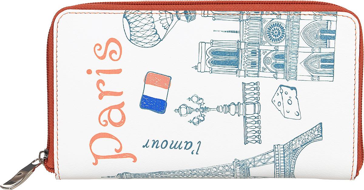Портмоне женское Befler Paris, цвет: белый, зеленый. PJ.165.-71-022_516Портмоне Befler из коллекции Parisвыполнено из натуральной кожи и оформлено оригинальным принтом. Закрывается на молнию. Внутри расположено 2 отделения для купюр, отделение для мелочи на молнии, 2 накладных кармана с отделениями для кредитных карт.