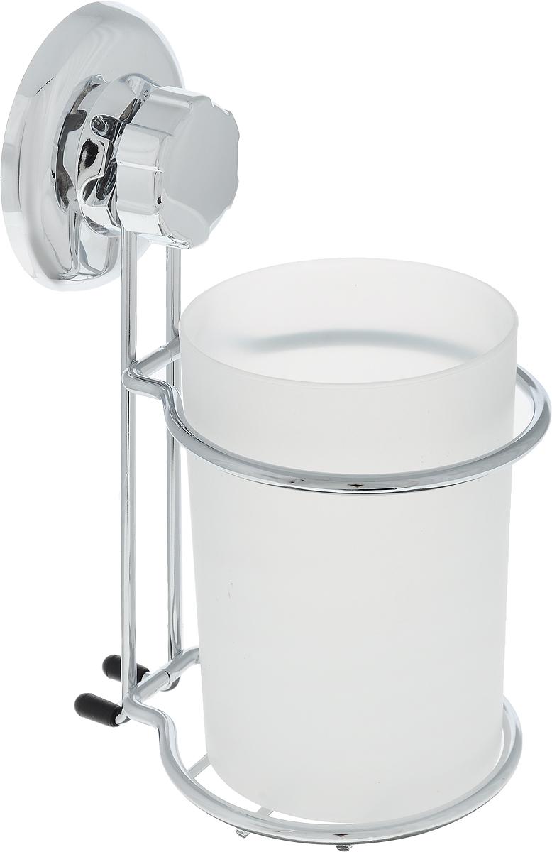 Стакан для ванной комнаты Tatkraft Ring Lock, на вакуумной присоске11519Настенный пластиковый стакан пригодится для хранения различных мелких гигиенических аксессуаров. Стакан выполнен из прочного пластика, не бьется при падении, имеет антибактериальное покрытие, которое позаботится о вашем здоровье. Каркас выполнен их хромированной стали, которая устойчива к влаге и коррозии. Удобный аксессуар для ванной комнаты. Диаметр стакана: 8 см.Высота стенки: 11 см.Диаметр вакуумного крепления: 6 см.Размер держателя: 12 см х 9 см х 16 см.