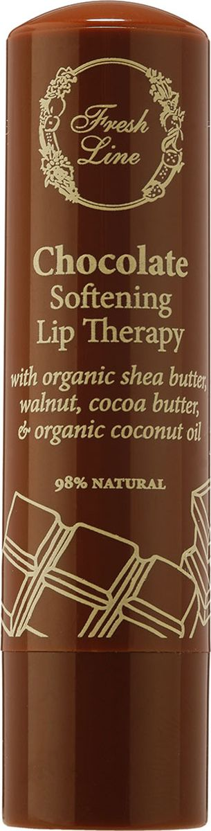 Fresh Line Бальзам для губ Шоколад, 5,4 гFS-00897Смягчающий бальзам для губ с органическим кокосовым маслом и маслом подсолнечника глубоко увлажняет губы и придает им бархатистую мягкость. Содержит натуральный пчелиный воск, органическое оливковое масло и стевию, которые в сочетании с маслом какао и маслом ши обеспечивают исключительную мягкость и предотвращают сухость. Экстракт грецкого ореха обладает антибактериальным и противомикробным действием и предотвращает инфицирование, которому подвержены сухие, потрескавшиеся губы. Придает губам легкий оттенок и блеск.