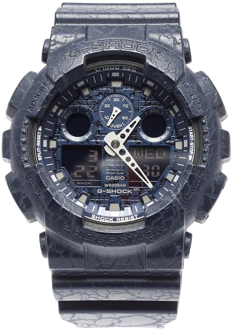 Часы наручные мужские Casio G-Shock, цвет: темно-синий. GA-100CG-2ABM8434-58AEЧасы наручные мужские Casio G-Shock оборудованы автоматической светодиодной подсветкой. Для подсветки дисплея используется светодиод, а так же имеется функция автоматического включения подсветки, если вы наклоните часы к своему лицу. Ударопрочная конструкция защищает от ударов и вибрации. Часы созданы с защитой от воздействия магнитных полей. Отображение текущего времени в основных городах и конкретных областях по всему миру. Секундомер измеряет с точностью до тысячной доли секунды времени прохождения круга и общего времени. Звуковые сигналы подтверждают начало или остановку секундомера. Предел измерений составляет 100 часов. Для поклонников точности: таймеры обратного отсчета напомнят вам о текущих или особенных событиях, издав звуковой сигнал в установленное время. Время можно предварительно настроить от 1 минуты и до 24 часов. Часы могут затем автоматически начать отсчет обратного времени в установленное время. Идеальное решение для людей, которым необходимо ежедневно принимать лекарства или выполнять промежуточные упражнения (тренировки). Будильник напомнит вам о повторяющихся событиях с помощью звукового сигнала, установленного вами на определенное время. Вы также можете активировать почасовой сигнал времени, сообщающий о каждом целом часе. Эта модель имеет пять независимых будильников для оповещения о важных встречах.Каждый раз, когда вы выключаете звуковой сигнал, он прозвучит повторно спустя несколько минут. С помощью часов можно рассчитать среднюю скорость пройденного маршрута. Просто введите расстояние на начало и нажмите на секундомер при достижении пункта назначения - будет отображена средняя скорость. После настройки автоматический календарь всегда отображает точную дату. Отображение времени можно в 12-часовом или 24-часовом формате. Прочное, устойчивое к царапинам минеральное стекло защищает часы от повреждений. Корпус изготовлен из полимерного пластика, ремешок - из полимерн