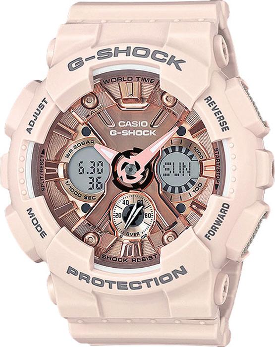 Часы наручные женские Casio G-Shock, цвет: розовый. GMA-S120MF-4ABM8434-58AEНаручные часы Casio G-Shock выполнены с автоматической светодиодной подсветкой. Для подсветки дисплея используется светодиод, часы имеют функцию автоматического включения подсветки, если вы наклоните часы к своему лицу. Ударопрочная конструкция защищает от ударов и вибрации. Устойчивость к воздействию магнитного поля.Функция мирового времени: отображение текущего времени в основных городах и конкретных областях по всему миру.Функция секундомера - 1/1000 сек. - 100 часов: измерение с точностью до тысячной доли секунды времени прохождения круга и общего времени. Звуковые сигналы подтверждают начало или остановку секундомера. Предел измерений составляет 100 часов. Для поклонников точности: таймеры обратного отсчета напомнят вам о текущих или особенных событиях, издав звуковой сигнал в установленное время. Время можно предварительно настроить от 1 минуты и до 24 часов. Часы могут затем автоматически начать отсчет обратного времени в установленное время. Идеальное решение для людей, которым необходимо ежедневно принимать лекарства или выполнять промежуточные упражнения (тренировки). Будильник напомнит вам о повторяющихся событиях с помощью звукового сигнала, установленного вами на определенное время. Вы также можете активировать почасовой сигнал времени, сообщающий о каждом целом часе. Эта модель имеет пять независимых будильников для оповещения о важных встречах. Функция повтора будильника: каждый раз, когда вы выключаете звуковой сигнал, он прозвучит повторно спустя несколько минут. Отображение скорости: можно рассчитать среднюю скорость пройденного маршрута. Просто введите расстояние на начало и нажмите на секундомер при достижении пункта назначения - будет отображена средняя скорость. После настройки автоматический календарь всегда отображает точную дату. Отображение времени можно в 12-часовом или 24-часовом формате. Прочное, устойчивое к царапинам минеральное стекло защищает часы от поврежде
