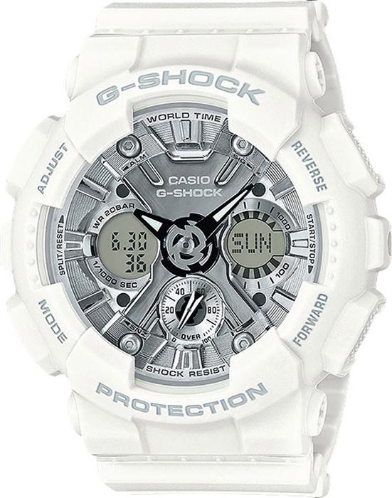 Часы наручные женские Casio G-Shock, цвет: белый, серебристый. GMA-S120MF-7A1BM8434-58AEНаручные часы Casio G-Shock выполнены с автоматической светодиодной подсветкой. Для подсветки дисплея используется светодиод, часы имеют функцию автоматического включения подсветки, если вы наклоните часы к своему лицу. Ударопрочная конструкция защищает от ударов и вибрации. Устойчивость к воздействию магнитного поля. Функция мирового времени: отображение текущего времени в основных городах и конкретных областях по всему миру. Функция секундомера - 1/1000 сек. - 100 часов: измерение с точностью до тысячной доли секунды времени прохождения круга и общего времени. Звуковые сигналы подтверждают начало или остановку секундомера. Предел измерений составляет 100 часов. Для поклонников точности: таймеры обратного отсчета напомнят вам о текущих или особенных событиях, издав звуковой сигнал в установленное время. Время можно предварительно настроить от 1 минуты и до 24 часов. Часы могут затем автоматически начать отсчет обратного времени в установленное время. Идеальное решение для людей, которым необходимо ежедневно принимать лекарства или выполнять промежуточные упражнения (тренировки). Будильник напомнит вам о повторяющихся событиях с помощью звукового сигнала, установленного вами на определенное время. Вы также можете активировать почасовой сигнал времени, сообщающий о каждом целом часе. Эта модель имеет пять независимых будильников для оповещения о важных встречах. Функция повтора будильника: каждый раз, когда вы выключаете звуковой сигнал, он прозвучит повторно спустя несколько минут. Отображение скорости: можно рассчитать среднюю скорость пройденного маршрута. Просто введите расстояние на начало и нажмите на секундомер при достижении пункта назначения - будет отображена средняя скорость. После настройки автоматический календарь всегда отображает точную дату. Отображение времени можно в 12-часовом или 24-часовом формате. Прочное, устойчивое к царапинам минеральное стекло защищает ча