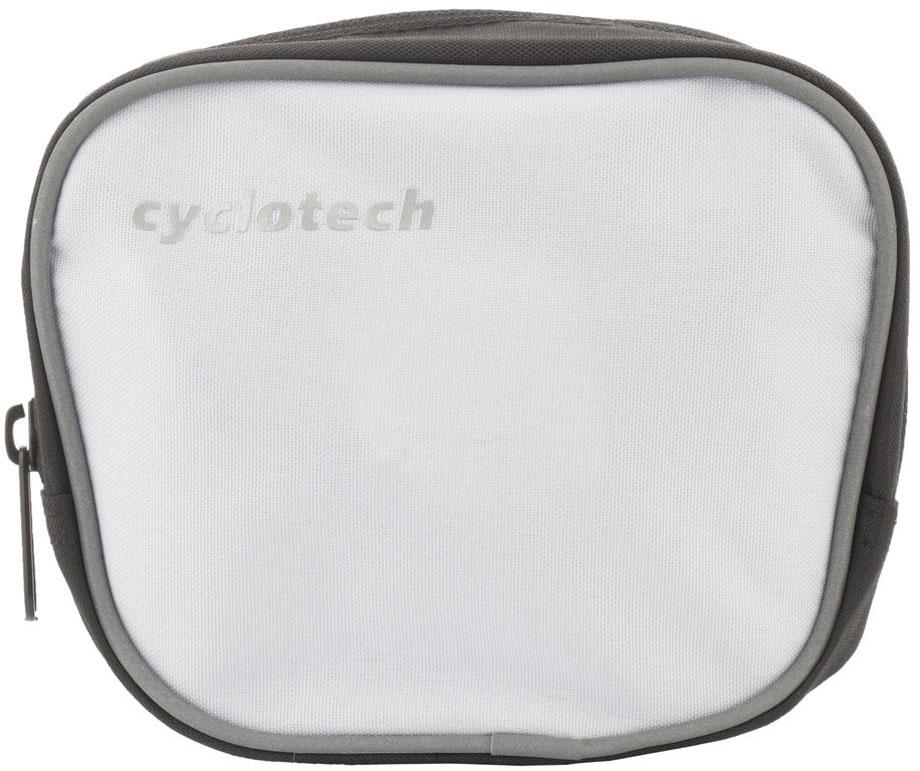 Велосумка на руль Cyclotech, цвет: белый, черный, серый162Велосипедная сумка Cyclotech выполнена из высококачественного прочного полиэстера. В ней можно перевозить инструменты, ключи и другие небольшие личные вещи. Сумка оснащена светоотражающей полосой, что повышает вашу безопасность на дорогах. Сумка закрепляется на руле при помощи 3 липучек. Изделие оснащено 1 отделением на застежке-молнии. На передней части расположен сетчатый кармашек, закрывающийся на липучку.