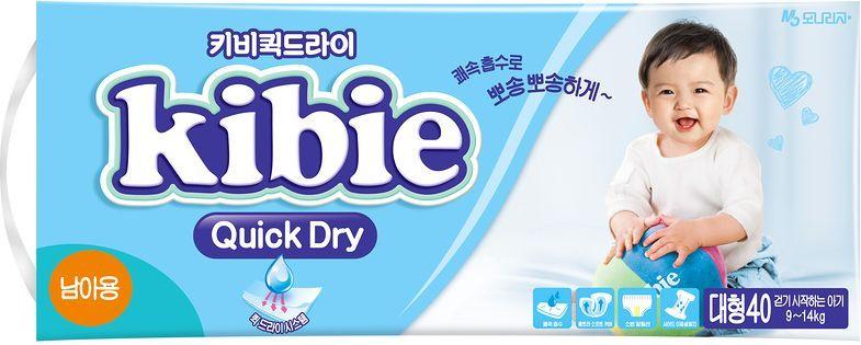 Kibie Подгузники для мальчиков Quick Dry L 9-14 кг 40 шт - Подгузники и пеленки
