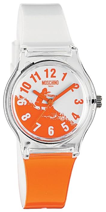 Наручные часы для девочки Moschino, цвет: белый, оранжевый. MW0314BP-001 BKНаручные часы Moschino, кварцевые, корпус из пластика