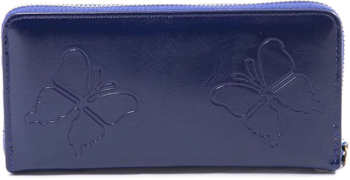 Кошелек женский Mitya Veselkov, цвет: синий. K4-BUTTERFLY-BLUES98156Кошелек женский Mitya Veselkov изготовлен из искусственной кожи с тиснением в виде бабочек. Модель закрывается на молнию. Внутри содержатся 3 отделения для купюр, карманы для карточек и карман на молнии для мелочи.