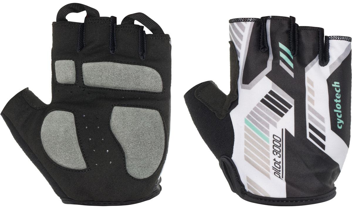 Велоперчатки Cyclotech Pilot, цвет: черный, белый, зеленый. Размер SBP-001 BKВелоперчатки Cyclotech Pilot отлично садятся по руке. Ладонь выполнена из полиамида и дополнена объемными вставками, тыльная сторона изготовлена из эластана и хлопка. Благодаря резинке перчатки легко надевать. Перчатки хорошо вентилируются, не дают руке скользить на руле и гасят неприятные вибрации.