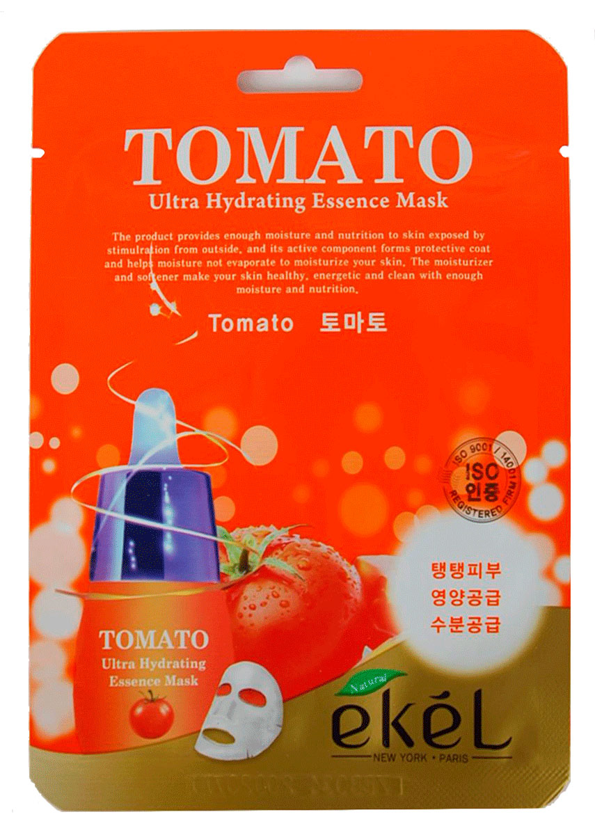 Ekel Маска тканевая с экстрактом томата, 25 гр.270132Ekel Tomato Ultra Hydrating Mask - Маска тканевая с экстрактом томата, 25 гр.Тканевая маска с экстрактом томата прекрасно увлажняет и укрепляет уставшую кожу. Обладает легким отбеливающим эффектом и повышает эластичность кожи. После нее цвет лица становится однородным, поры стягиваются, стираются следы усталости.Питательные вещества, содержащиеся в томатах, хорошо укрепляют и тонизируют кожу, делая ее упругой и даря ей здоровый цвет.