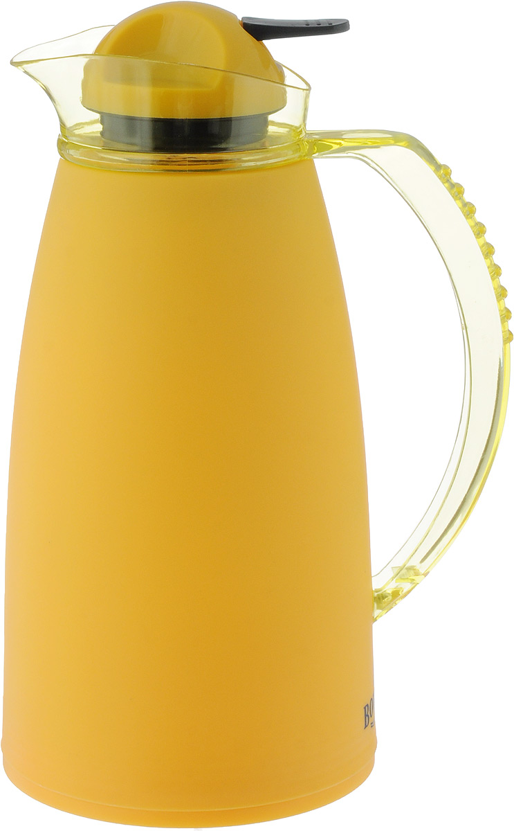 Термос Bohmann, с носиком, цвет: желтый, 1 лVT-1520(SR)Термос Bohmann выполнен из яркого безопасного пластика. Двойные стенки сохраняют температуру напитков длительное время. Внутренняя колба выполнена из прочного качественного стекла. Термос снабжен плотно прилегающей закручивающейся пластиковой пробкой с нажимным клапаном. Для того чтобы налить содержимое термоса нет необходимости откручивать пробку. Достаточно надавить на клапан, расположенный в центре.Изделие оснащено удобной ручкой и насадкой в виде носика кувшина. Высота термоса (с учетом крышки): 28 см.Диаметр горлышка: 3,5 см.