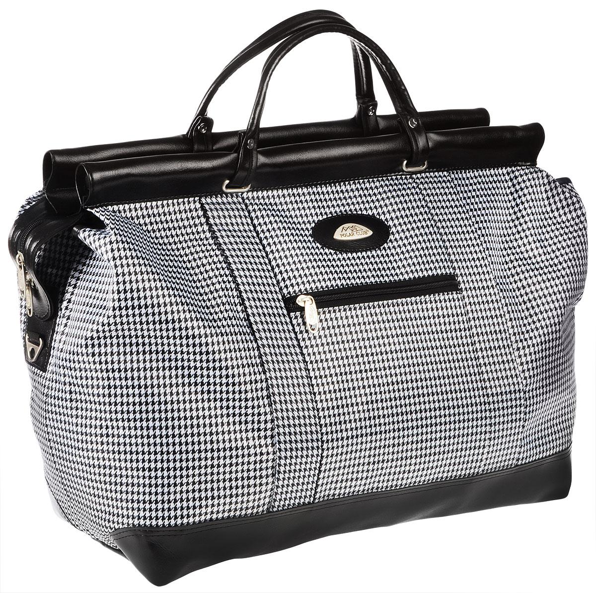 Сумка дорожная Polar, цвет: черный, белый, 47 л. 7021 сумка дорожная polar цвет бордовый 46 5 л 7049 2