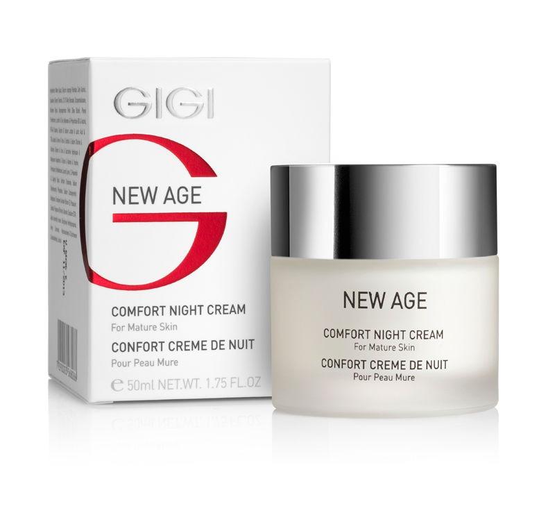 GIGI Крем-комфорт ночной New Age, 50 мл119Дополняя дневной крем, регенерирующий ночной крем обеспечивает комплексный уход за кожей женщин старше 40лет и положительно влияет на стареющую кожу. Действие: Он усиливает синтез коллагена; стимулирует обновление клеток кожи; усиливает синтез липидов эпидермиса. Воздействуя на кожу в часы сна, крем делает ее к утру гладкой, упругой и нежной, морщины разглаживаются, кожа приобретает ровный и здоровый цвет. Активные ингредиенты: Сквален, лецитин, экстракт зародышей сои, молочная кислота, аллантоин, гидролизированный соевый протеин, масло Ши, витамин Е.