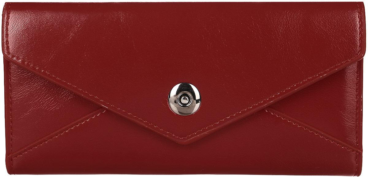 Кошелек женский Mitya Veselkov, цвет: красный. K-RED6490300нЖенский кошелек от модного бренда Mitya Veselkov изготовлен из натуральной кожи. Купюры вмещаются в полную длину. Закрывается кошелек при помощи клапана на кнопку. Внутри расположено три отделения для купюр, кармашки для пластиковых карт и визиток, одно отделение для мелочи.Такой кошелек стильно дополнит ваш образ и станет незаменимым аксессуаром.