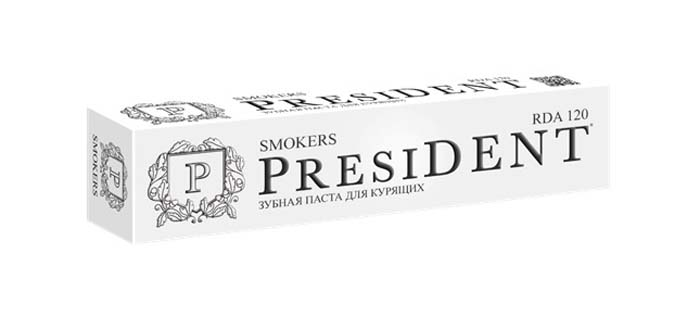 President зубная паста Smokers, 75 мл5010777139655Зубная паста для курильщиков. Лайм осветляет эмальМята и Петрушка – экстрасвежее дыхание.Пудра бамбукового угля эффективно очищает и бережно отбеливает.Фтор укрепляет эмаль и защищает от кариеса.