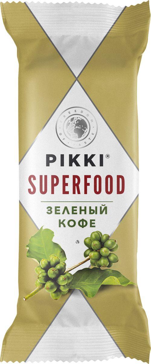 Pikki Зеленый кофе батончик орехово-фруктовый, 35 г0120710Зеленый кофе знаменит своей способностью снижать вес, благодаря хлорогеновой кислоте, которая активизирует обмен веществ и способствует жиросжиганию. А еще он содержит незаменимые жирные кислоты, стимулирует физическую и интеллектуальную активность, улучшает работу нервной системы и укрепляет сердце. Он добавлен во фруктовый батончик вместе с инжиром, клюквой, сушеным яблоком и орехами кешью, чтобы вы могли перекусить и использовать его супер-свойства.