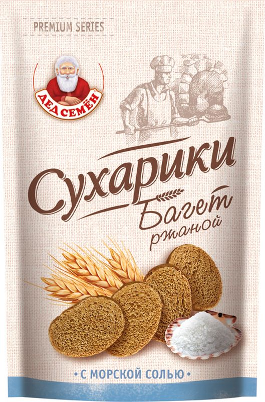 Дед Семен сухарики Багет ржаной с солью, 150 г